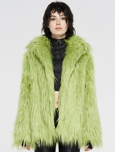 Green Gothic Punk Winter Imitation Fur Coat for Women
