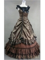 Brown Sleeveless Gothic Masquerade Ball Gowns