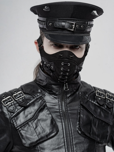 Black Gothic Punk Cool Face Masks for Men