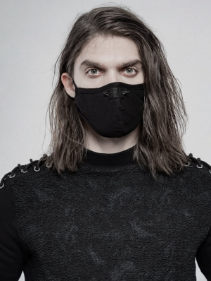 Black Gothic Daily Punk Rivet Mask for Men