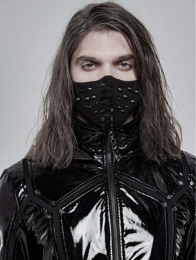 Black Gothic Punk Rivet Mask for Men