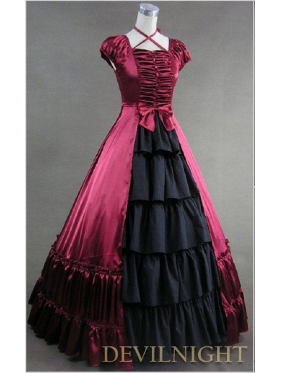 Classic Red and Black Multi-Layered Skirt Gothic Victorian Dress