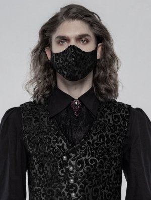Black Gothic Jacquard Masks for Men