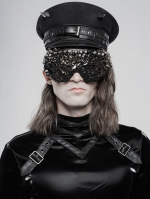 Black Gothic Punk Military Hat for Men