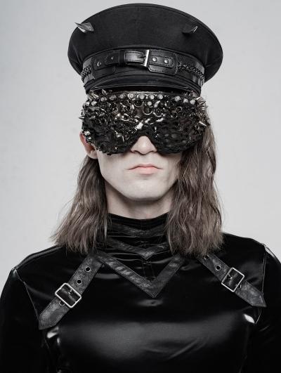 Black Gothic Punk Military Hat for Men