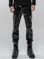 Black Gothic Punk Mechanical PU Leather Trousers for Men
