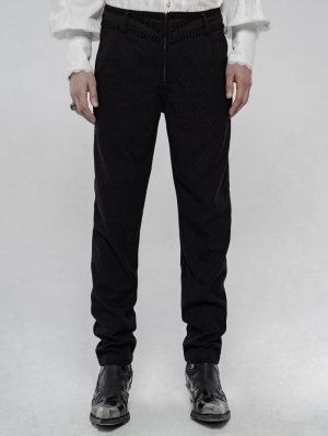 Black Retro Gothic Gorgeous Jacquard Pants for Men