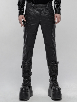 Black Gothic Punk Skull PU Leather Pants for Men