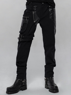 Black Gothic Punk Metal Long Trousers for Men