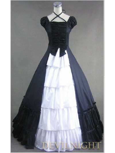 Classic Black and White Multi-Layered Skirt Gothic Victorian Dress