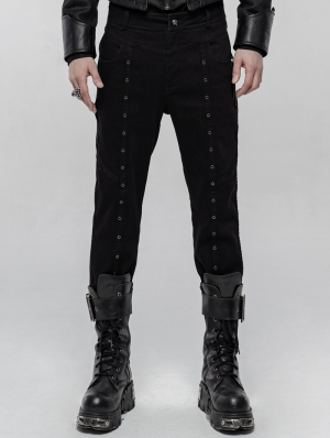 Black Gothic Punk Winter Trousers for Men