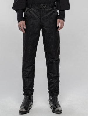 Black Retro Gothic Jacquard Daily Pants for Men