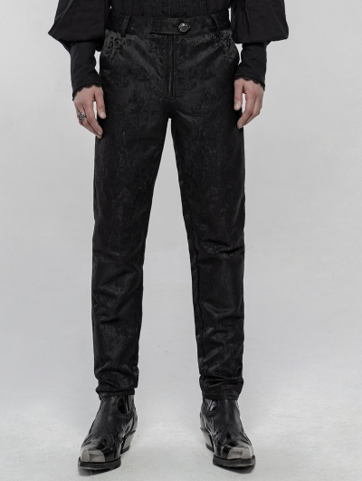 Black Retro Gothic Jacquard Daily Pants for Men