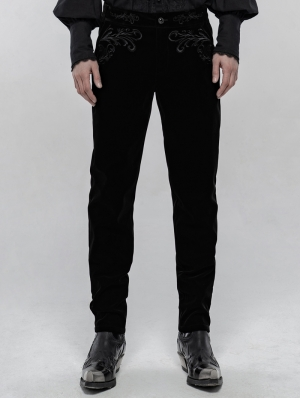 Black Retro Gothic Embroidered Trousers for Men