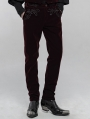 Red Retro Gothic Embroidered Trousers for Men