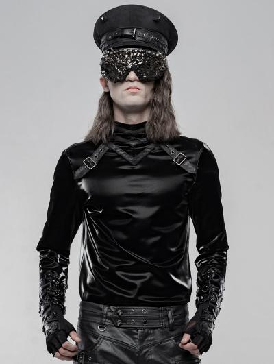 Black Gothic Punk Long Sleeve T-Shirt for Men