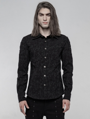 Black Gothic Punk Jacquard Long Sleeve Shirt for Men