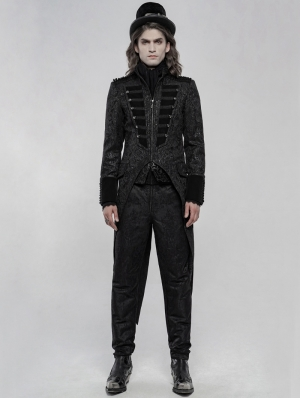 Black Gorgeous Retro Gothic Swallow Tail Coat for Men