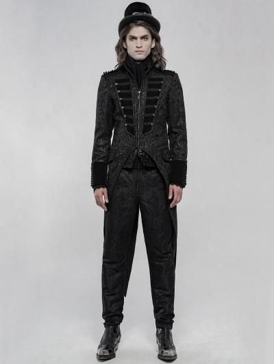 Black Gorgeous Retro Gothic Swallow Tail Coat for Men