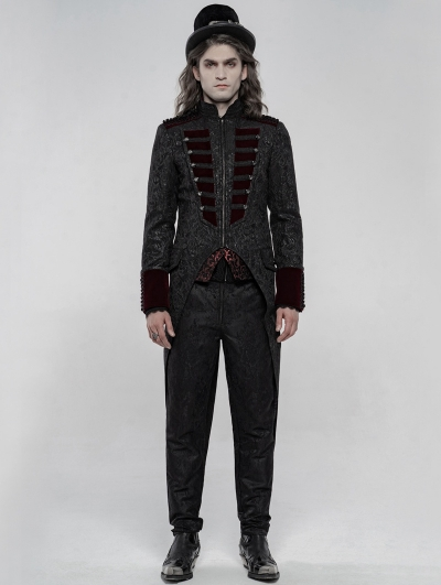 Black and Red Gorgeous Retro Gothic Swallow Tail Coat for Men
