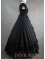 Gorgeous Classic Black Multi-Layered Skirt Gothic Victorian Dress