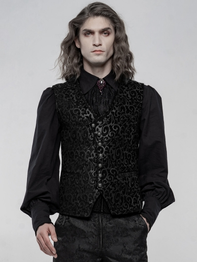 Black Retro Gothic Gorgeous Jacquard Vest for Men