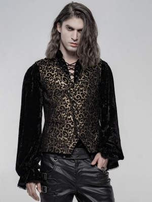 Gold Retro Gothic Gorgeous Jacquard Vest for Men