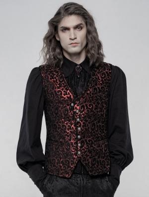Red Retro Gothic Gorgeous Jacquard Vest for Men