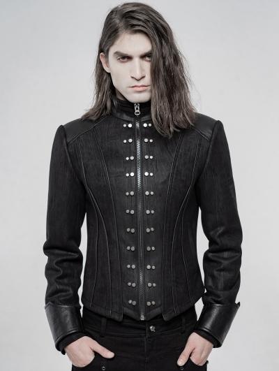 Black Gothic Punk Handsome Short Coat for Men