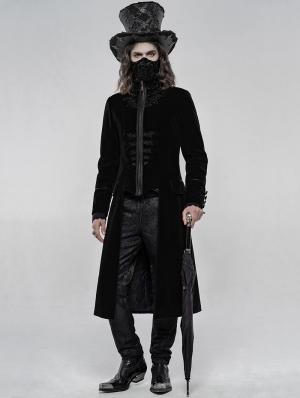 Black Retro Embroidered Velvet Gothic Long Coat for Men