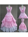 Classic Pink and White Sleeveless Gothic Victorian Lolita Dress