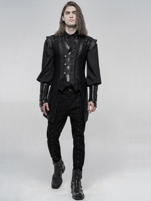 Black Gothic Punk Chinese Han Style Waistcoat for Men