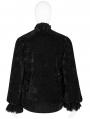 Black Retro Velvet Gothic Long Sleeve Shirt for Men