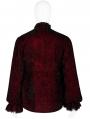 Dark Red Retro Velvet Gothic Long Sleeve Shirt for Men