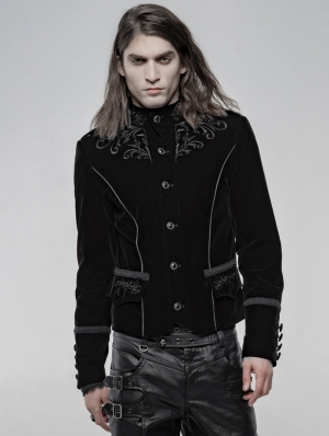 Black Vintage Embroidered Short Gothic Jacket for Men
