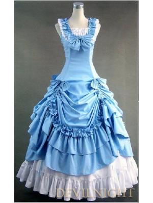 Classic Blue and White Sleeveless Gothic Victorian Lolita Dress