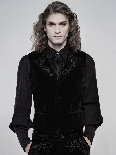 Black Vintage Embroidered Gothic Waistcoat for Men