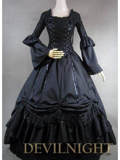 Romantic Black Long Trumpet Sleeves Gothic Victorian Ball Gowns