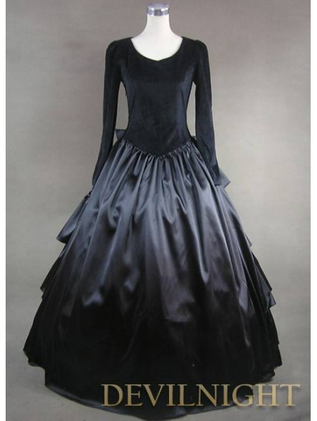 Vintage Black Velvet And Satin Simple Gothic Ball Gowns