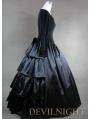 Vintage Black Velvet and Satin Simple Gothic Ball Gowns