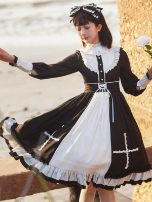 Holy Cross Black Long Sleeve Sweet Gothic Lolita OP Dress