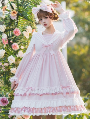 Miss Betty Pink Sweet Long Sleeve Lolita OP Dress