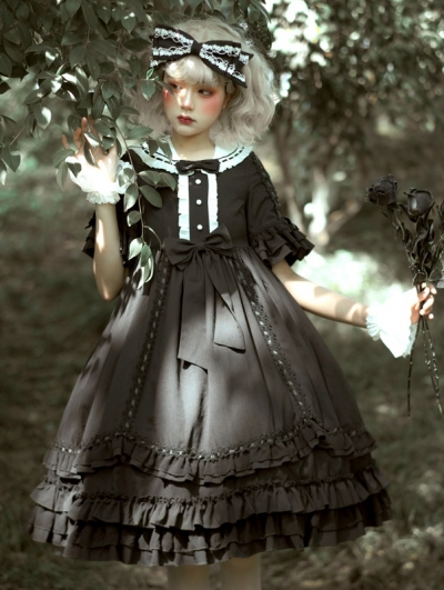 Miss Betty Black Gothic Short Sleeve Lolita OP Dress