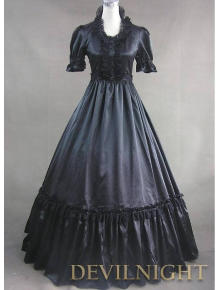 Black Short Sleeves Gothic Victorian Prom Dress