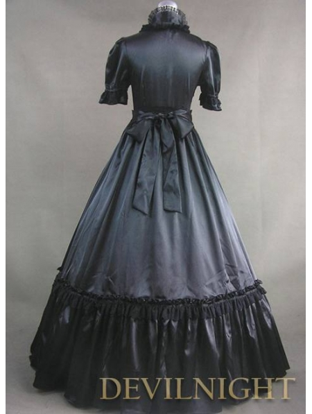Black Short Sleeves Gothic Victorian Prom Dress - Devilnight.co.uk