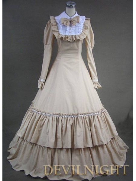 Classic Champagne And White Long Sleeves Gothic Victorian