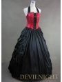 Elegant Red and Black Halter Gothic Victorian Dress