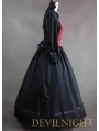 Vintage Red and Black Long Sleeves Buttons Gothic Victorian Dress