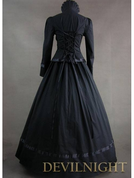 Vintage Red and Black Long Sleeves Buttons Gothic Victorian Dress ...