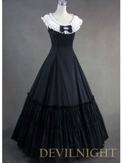 Sweet Princess White and Black Sleeveless Gothic Victorian Dress